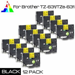 12x Tz 631 Label Maker Tape Black On Yellow For New Tze 631 P touch Us Stock
