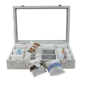 Necklace Storage Box Ornaments Showing Case With 12 Movable Pillows