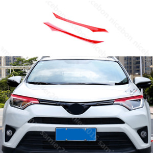 Red Pvc Brow Truck Parts Front Head Light Cover Fit For Toyota Rav4 2016 2018