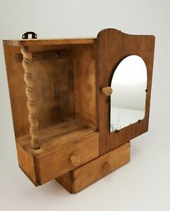 Vintage Wooden Kitchen Apothecary Medicine Cabinet With Mirror E 0032