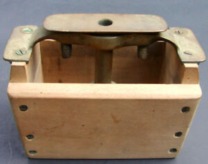 Primitive Vintage Wood Brass Butter Press Mold Pattern Stamp Farmhouse