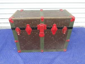 Vintage Unusual Size Tin Covered Steamer Box Trunk