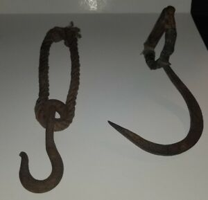 Antique 1900 S Ice Hook Hay Bale Wood Steel 16 And Rope With Pulley 16 Nice