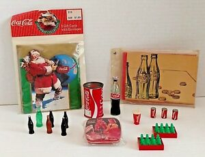 Coca Cola lot of mini collectibles + Christmas cards set bottles tin pencil ads
