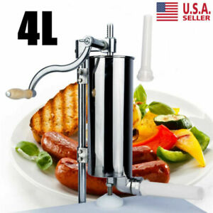 4l Stainless Steel Vertical Sausage Stuffer Maker Meat Filler Commercial Durable