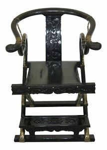 F47257ec Vintage Chinese Oriental Black Lacquer Folding Throne Chair