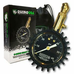 Rhino Usa Heavy Duty Tire Pressure Gauge 0 60 Psi Certified Ansi B40 1 Accu