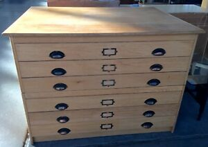 Oak Flat File 6 Drawer