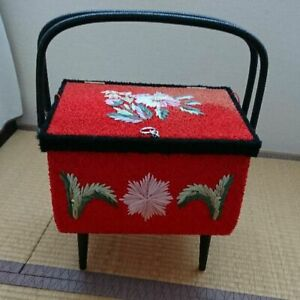 31 0 Cm Very Rare Japanese Old Sewing Makeup Vintage Wooden Box Kawaii Flower