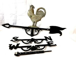 Antique Weather Vane Vintage Lightning Rod Rooster Metal Arrow Directional Folk