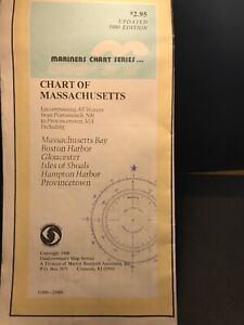 Vintage Massachusetts Nautical Chart 1980 Lot M59