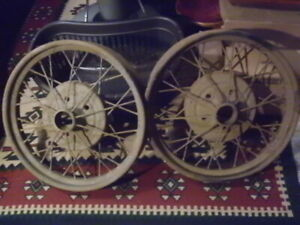 Antique Early Ford Spoke Wire Wheel Rims 22 X 4 Model A Set Of 2 See Photo
