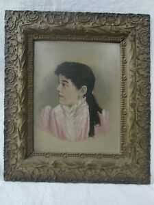 Antique Victorian Portrait Of A Lady On Chalk Ornate Gesso Frame