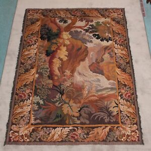 French Aubusson Antique 19th C Handwoven Vertical Tapestry Good Condition