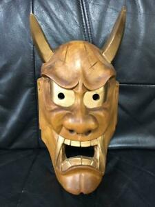 Japanese Wood Carving Mask One Sword Carving Noh Mask Devil Mask From Japan W4