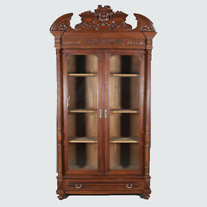 Antique French Carved Walnut Double Door Enclosed Bookcase Circa 1890