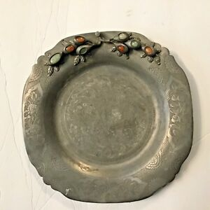 Antique Chinese Pewter Plate Engraved Bird Design With Jade Carnelian Stones