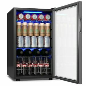 Free Standing Electric Fast Cooling Beverage Refrigerator Cooler W glass Door