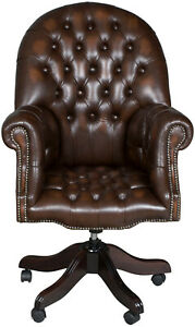 Antique Style New Tufted Brown Leather Rolling Desk Office Arm Chair Executive