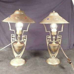 Pair Arts Crafts Antique Brass Gimbal Lamps Light Maritime Nautical Boat Yacht