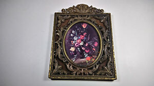 Vintage Brass Photo Picture Frame Square Oval Scroll Wall Hanging Made In Italy