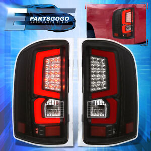 For 07 13 Chevy Silverado 1500 2500hd 3500hd Led Red Tube Tail Lights Lamp Black