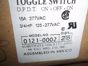3 Position Toggle Switch Part Number 0121 0002 15 Amp 277 Volt
