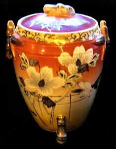 Antique Japanese Satsuma Lidded Jar Hand Painted With Wild White Rose Excellent