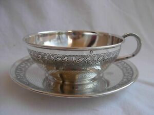 Antique French Sterling Silver Tea Cup Saucer