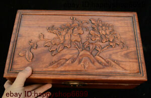 14 Chinese Dynasty Huang Huali Wood Flower Storage Jewelry Chest Bin Box Statue