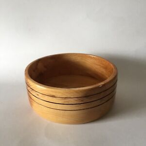 Large Carved Maple Wood Dog Food Bowl Wooden Salad Dish Table Decor Hand Made