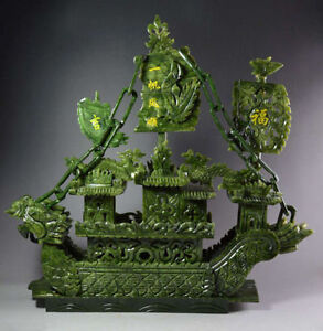 Chinese Large Hand Carved 100 Natural Jade Dragon Incense Statue Dragon Boat