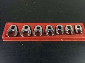 ad431 Snap on 7pc 3 8 Drive 6 point Sae Flare Nut Crowfoot Wrench Set 3 8 3 4