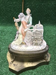 Vtg Victorian Lace Figurine Couple Duet Piano Violin Table Lamp Porcelain Brass