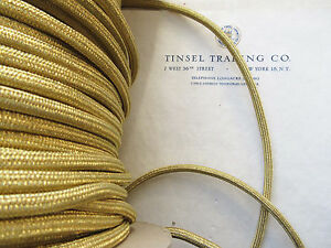 Vintage Gold Metallic Tubular Cord Trim Military Shoulder Board Aiguillette 1 Yd