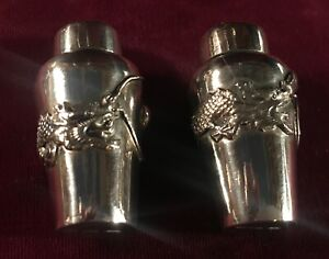 Antique Chinese Export Silver Pair Of Salt And Pepper Shakers