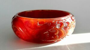 Deeply Carved Red Jade Bangle Bracelet Dragons