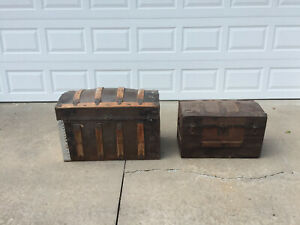 Two Antique Trunks Pirate Chests Rustic Vintage Steampunk Humpback Lg