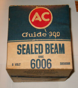 Nos Ac Guide 300 Sealed Beam Headlight Assembly 6006 Nib New In Box 6 Volt Delco