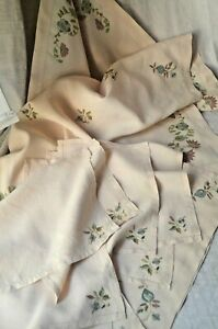 Pure Linen Silk Embroidered Table Cloth 8 Napkins 2 Tray Cloths Unused