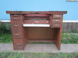 Vintage Jeweler s watchmaker Desk With 10 Drawers