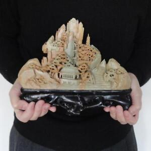 Chinese Carved Soapstone Moutainscape Russet Celadon Beige Exquisite Detail