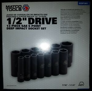 Matco Tools 1 2 Dr 13pc Sae 6pt Deep Impact Socket Set Scdp136v