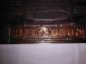 Antique Goodyear Advertising Letterpress Electrotype Printer Plate