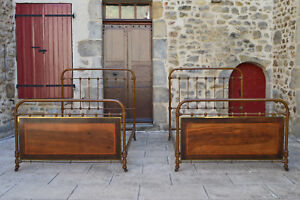 Pair Of Antiques French Twin Beds Cast Iron Wood Brass And Marquetry 1910