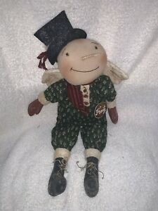 Primitive Handmade Winter Christmas Frosty Snowman Doll Angel Folk Art 16