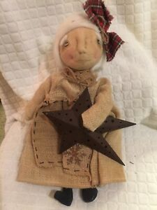 Primitive Handmade Winter Christmas Grandma Doll Burlap W Star Folk Art 16