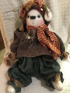 Primitive Ooak Handmade Christmas Snow Rabbit Doll Wool Outfit 19 5