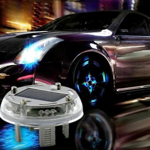 12 Led Car Auto Solar Energy Flash Wheel Tire Valve Caps Neon Light Rgb 4 Modes