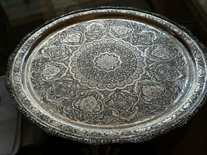 Persian Art Exhibition X Large Solid Silver Tray One Of A Kind